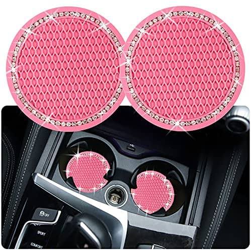 2PCS Bling Car Cup Coaster, 2.75 Inch Auto Car Cup Holder Insert Coasters Silicone Anti-Slip Crystal Rhinestone Drink Car Cup Mat, Universal Vehicle Interior Accessories for Women Girls (Pink)