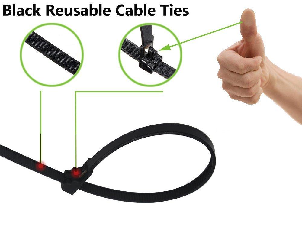 50pcs White Single-use Ties and 50pcs Black Reusable Ties BagTu 100pcs Nylon Cable Ties 8 Inch Multi-Purpose Self-Locking Zip Ties