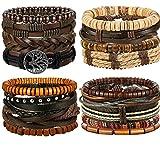 FIBO STEEL 12-17 Pcs Leather Bracelet for Men Women Woven Cuff Bracelet Adjustable