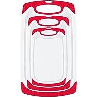 Whitgo Lot DE 3 Planches à Découper en Plastique Adaptées au Lave-Vaisselle, avec Pieds antidérapants et rainure Anti-Gouttes