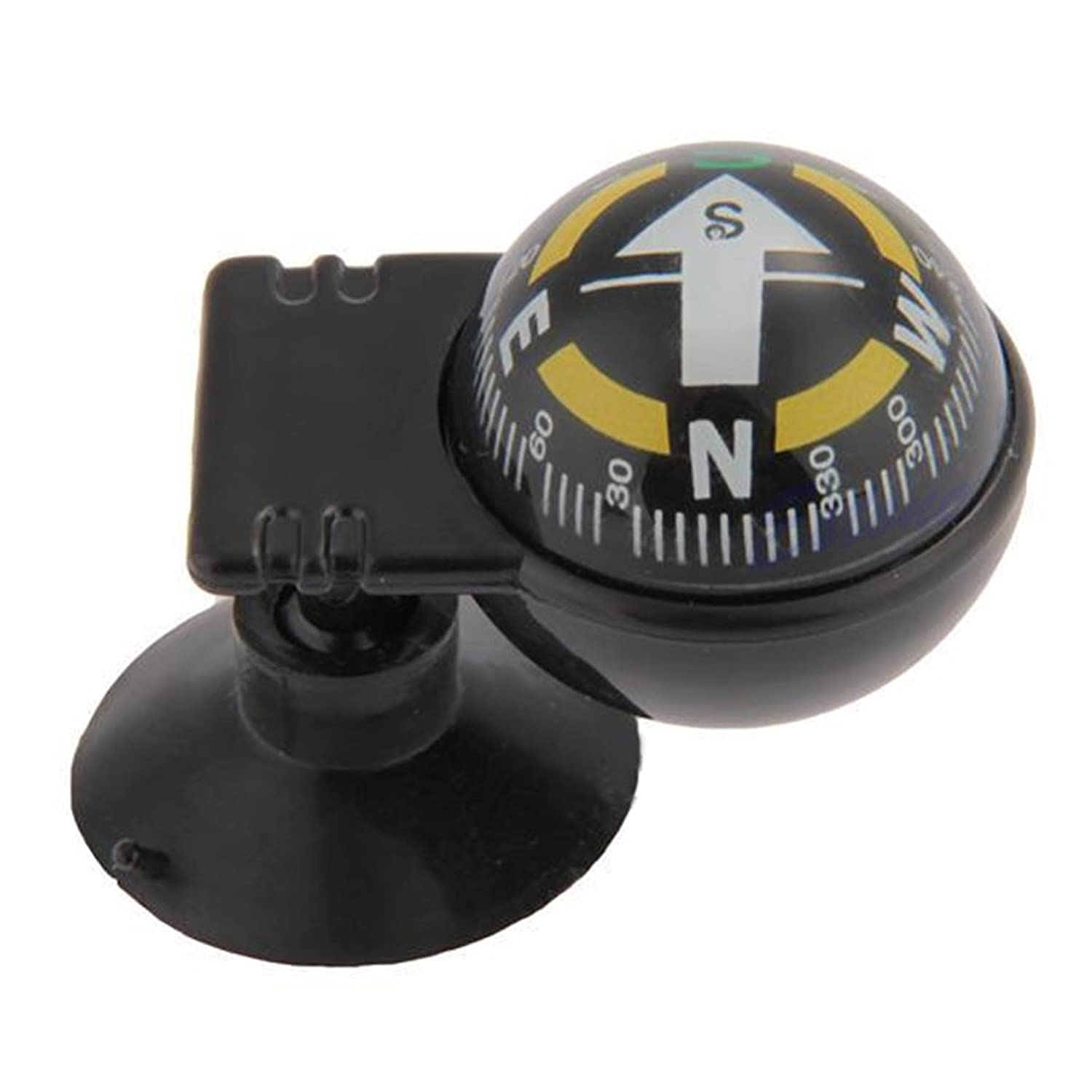1 Pc Pocket Black Ball Compass Keychain Dash Mount Navigation Car Boat Truck Survival Emergency Life Military Powerful Popular Outdoor Hunting Waterproof Whistle Backpack Geometry Map Guide Tools Kits