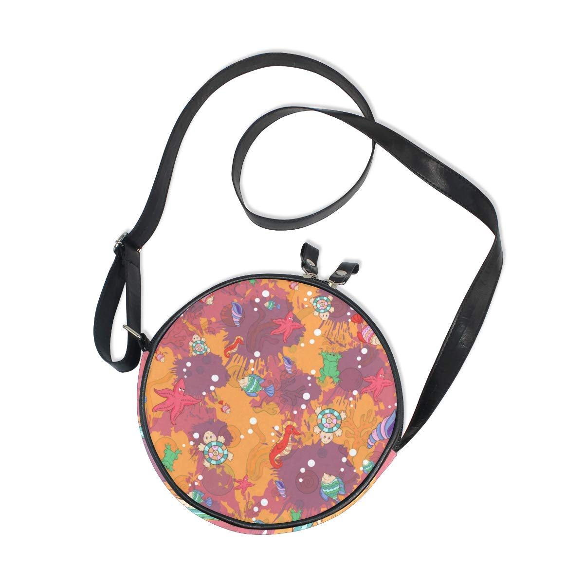 KEAKIA Abstract Marine Life Round Crossbody Bag Shoulder Sling Bag Handbag Purse Satchel Shoulder Bag for Kids Women
