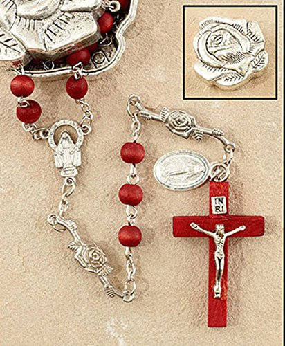 (Marian Rose Petal Rosary with Rose Scented Wood Bead, in a Beautiful Metal Rose- Shaped Gift Box.)