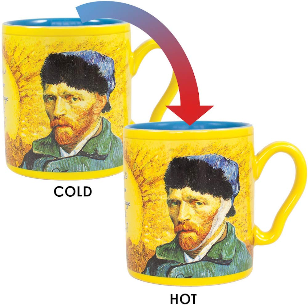Van Gogh Disappearing Ear Mug - Add Coffee or Tea and Van Gogh's Ear Disappears - Comes in a Fun Gift Box