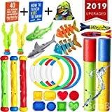 CozyBomB Swimming Pool Diving Toys for Kids - Under Water Sink Dive Toy Set of Foam Blaster Water Gun Torpedo Rings Sticks Fish Treasures - Summer Bundle Game time for Boys Girls Teens Age 3 up 26pcs