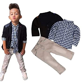 5b1a8d15 1Set Kids Boys Clothes Set Long Sleeves Business Suit+Plaid Shirt Tops +Trousers  Children