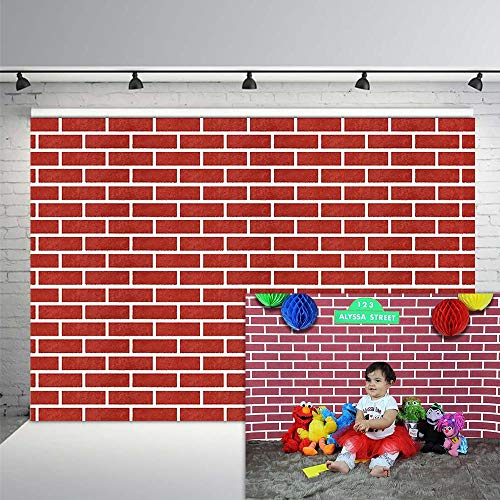 COMOPHOTO Red Brick Wall Photography Backdrops 7x5ft Vinyl Children Birthday Party Banner Photo Booth Background Decor for Family Photographers Kids Props]()