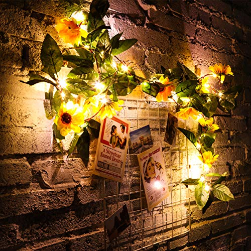 WILLBOND 30 LED 7.2ft Artificial Sunflower String Lights Sunflower Home Decor Sunflower Battery Operated String Fairy Lights for Indoor Bedroom Wedding Home Garden Decor, Warm White from WILLBOND