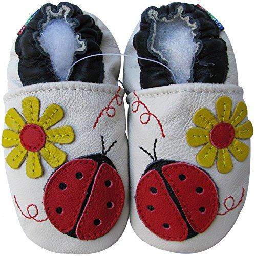 Carozoo baby girl soft sole leather infant toddler kids shoes Ladybug Flower Cream 6-12m