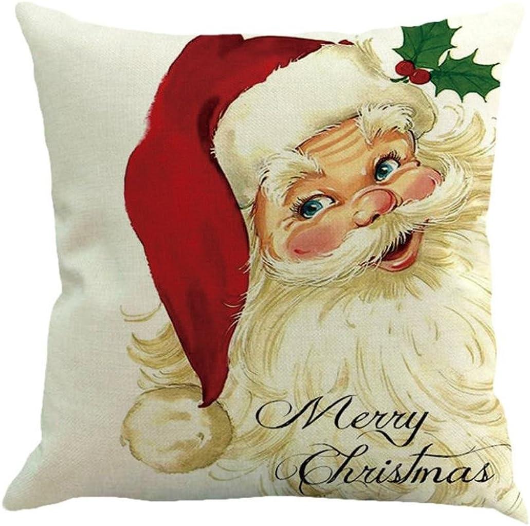 Sothread Christmas Throw Pillowcase Decor Sofa Cushion Cover Santa Claus 18
