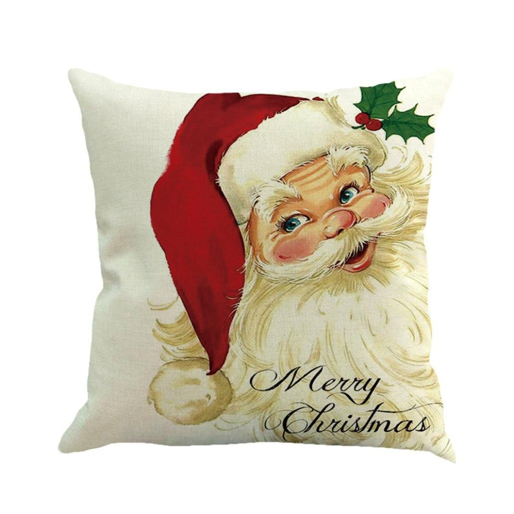 Clearance!Sothread Christmas Throw Pillowcase Decor Sofa Cushion Cover Santa Claus 18''x18'' (C4)