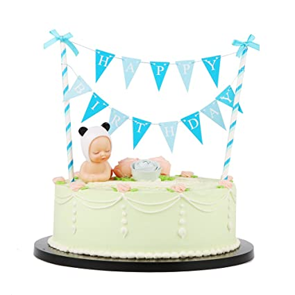 LXZS BH Blue Bow Knot Mini Happy Birthday Cake Topper Banner And Baby Plastic