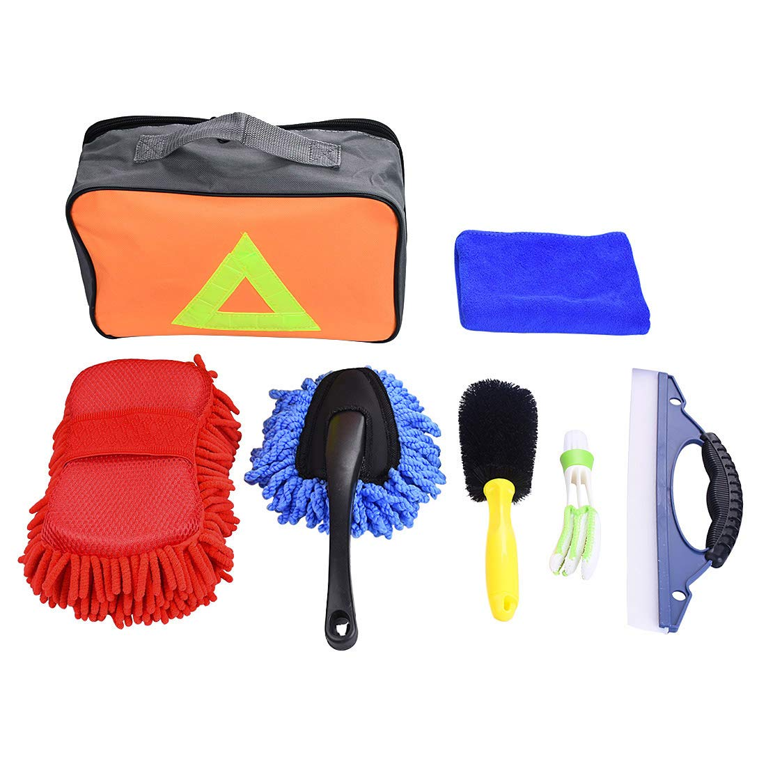 YUENA CARE Car Washing Cleaning Tools Kits With Bag Tire Brush Wash Sponge Duster Wash Cloth