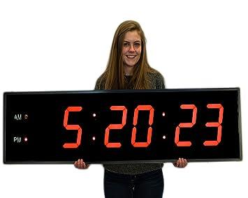 Enorme industrial almacén cafetería gimnasio reloj 8 Inch números marco de aluminio con Full Function Remote Control: Amazon.es: Hogar