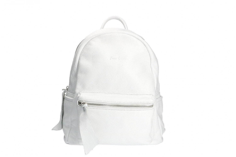 3a7bd8c38f Zaino donna a spalla zainetto Pierre Cardin bianco pelle MADE IN ITALY  N1040: Amazon.it: Abbigliamento