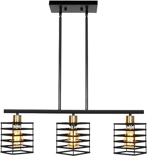 JHLBYL Island Light 3-Light Industrial Light Fixture Modern Kitchen Island Pendant Lighting Rustic Farmhouse Ceiling Light Fixtures for Kitchen Dining Room Hallway