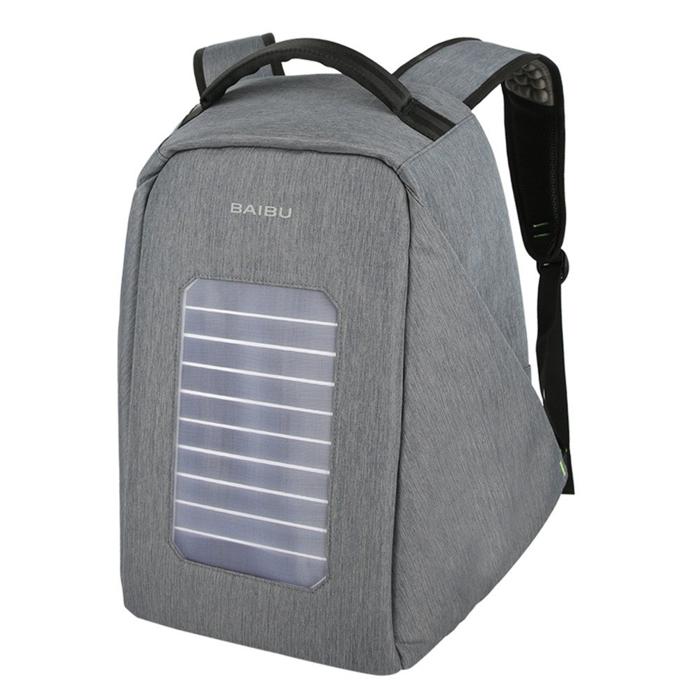 Solar Powered Charger Backpack,Polyester Waterproof Outdoor Travel Camping Rucksack Anti-theft 16'' Business Laptop Backpack (Grey)