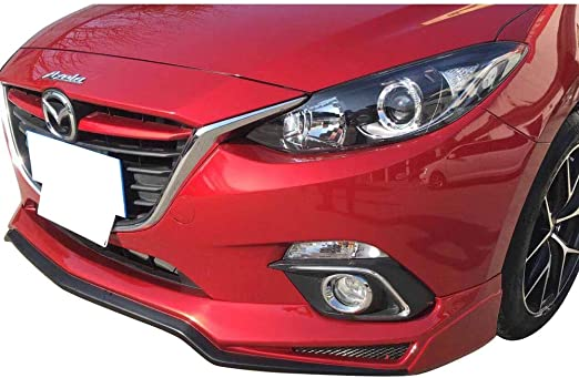 PU Spoiler Splitter Valance Chin Bodykit by IKON MOTORSPORTS Sport Style Unpainted Black Polyurethane 2011 2012 Front Lip Compatible With 2010-2013 Mazda 3