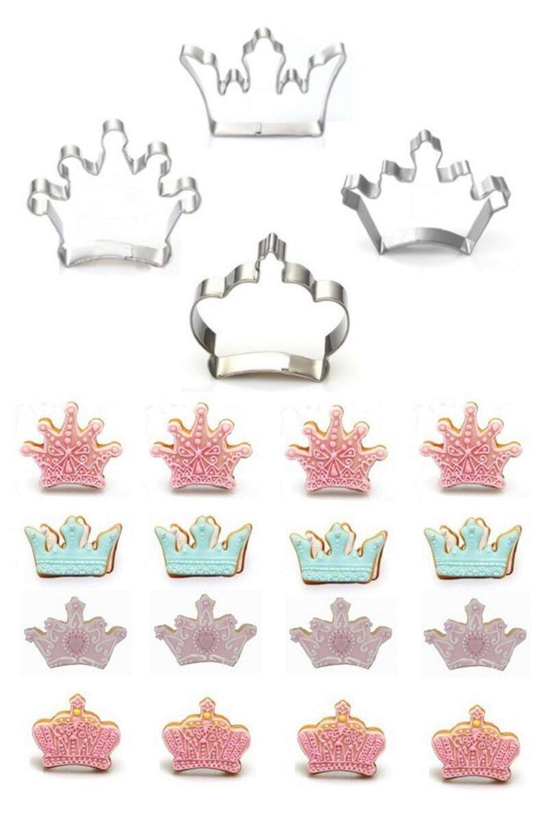 Pack de 4 moldes para repostería de acero inoxidable con diseño en forma de coronas cortador para pastelería: Amazon.es: Hogar
