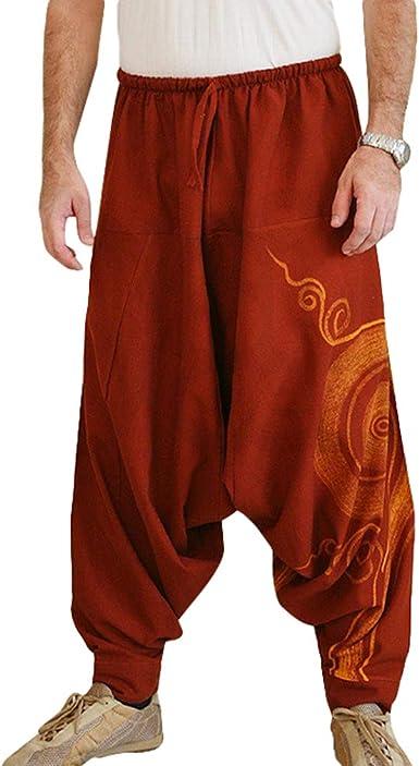 Hombre Pantalones Harem Comoda Cintura Elastica Pantalones Con Cintura Moda Color Solido Casuales Yoga Hippies Pantalones Tallas Grandes S 2xl Amazon Es Ropa Y Accesorios