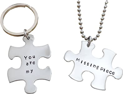 566254fc65 Image Unavailable. Image not available for. Color: You are my missing piece  - Couples Key chain and Necklace Set - Puzzle ...