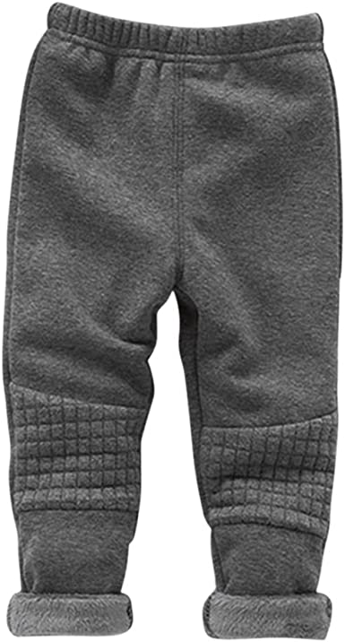 MNLYBABY Little Boys Girls Winter Warm Pants Thicken Fleece Leggings Capris
