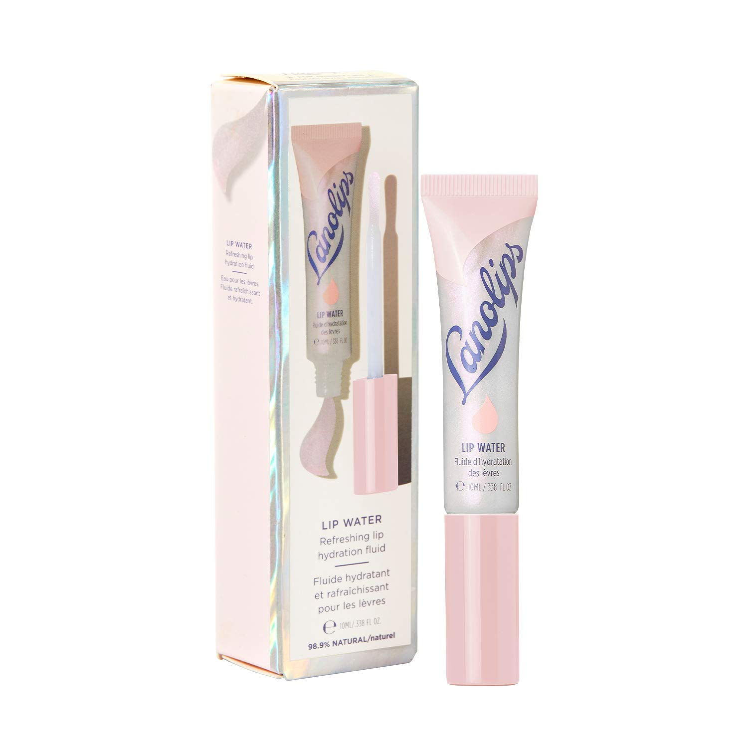 Lanolips Lip Water - Hydrating Lanolin Lip Serum with Hyaluronic Acid, Glycerin + Shimmer Tints for Hydrated, Glowing, Plump Looking Lips (10ml / 0.34 fl oz)