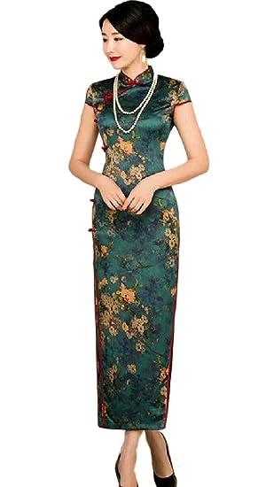 a27cfe16727 LinkShowWomen LinkShow Women Cap Sleeve Silk Printing Side Slit Cheongsam Long  Dress Pattern1 S