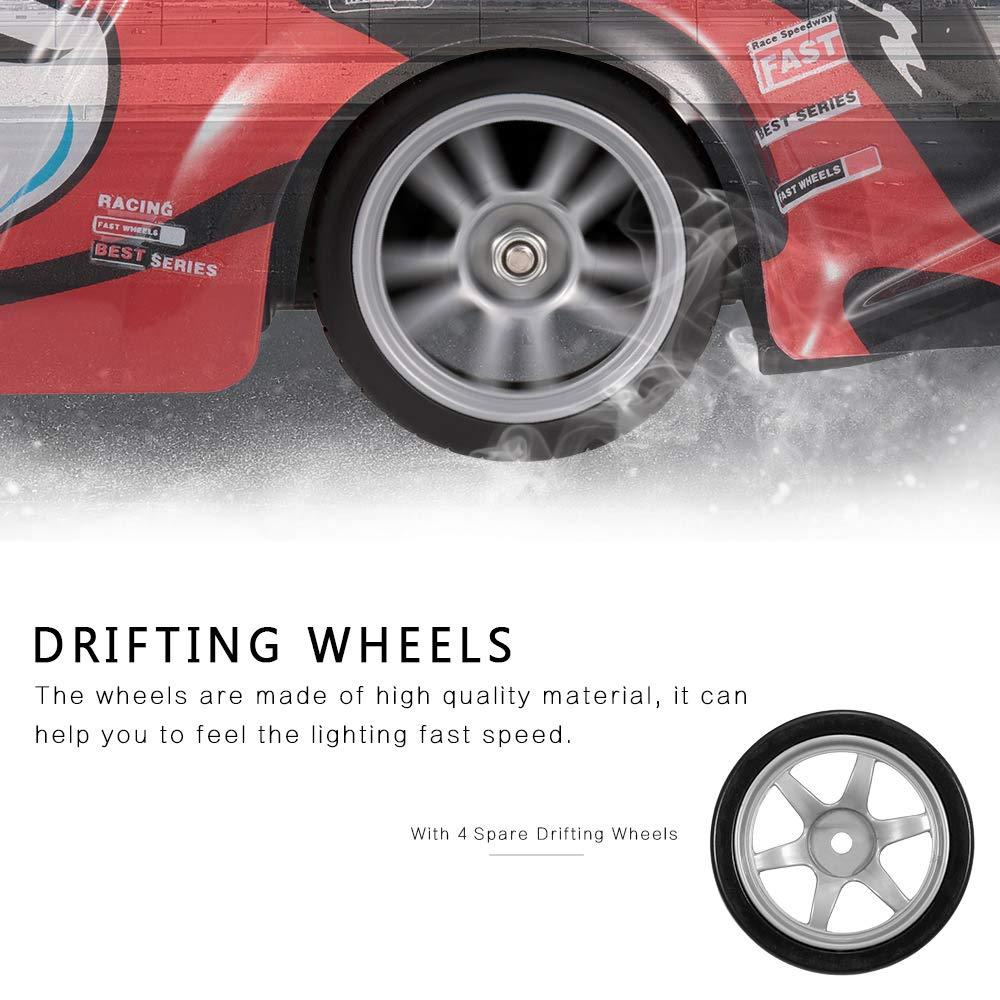 Goolsky 8203G 2.4GHz 1/16 4WD de Alta Velocidad Super Sports RC Racing Drifting Car con Ruedas de Deriva de Recambio para niños