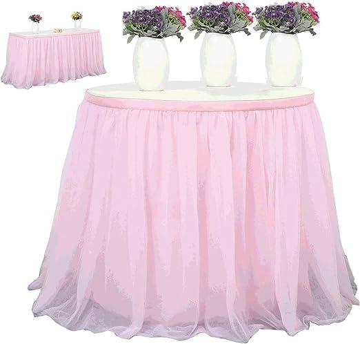 SOHAPY falda de tutú de tul rosa para decoración de mesa, elegante ...