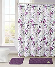 Bathroom Set: 2 Memory Foam Floor Mats, Fabric Shower Curtain, Silver RollerBall Shower Hooks…