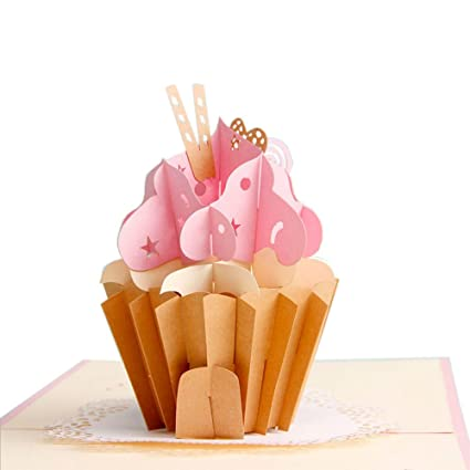 Cute Cupcake Pop Up Card Handmade Happy Birthday For Girl Girlfriend Mom Daughter 3D Greeting