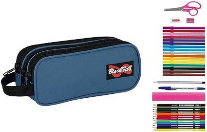 Safta - Estuche portatodo triple lleno 34 piezas azul - blackfit8 (30/1): Amazon.es: Oficina y papelería