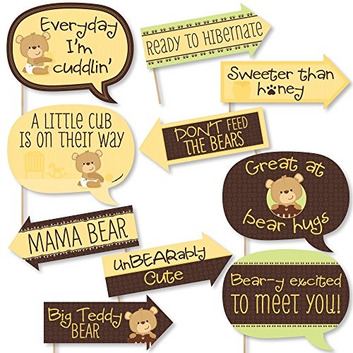 Funny Baby Teddy Bear - Baby Shower Photo Booth Props Kit - 10 Piece (Baby Bear Photos)
