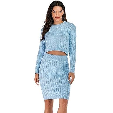 Dorical Mujer Conjunto de Vestido Punto de Dos Piezas para Mujer ...