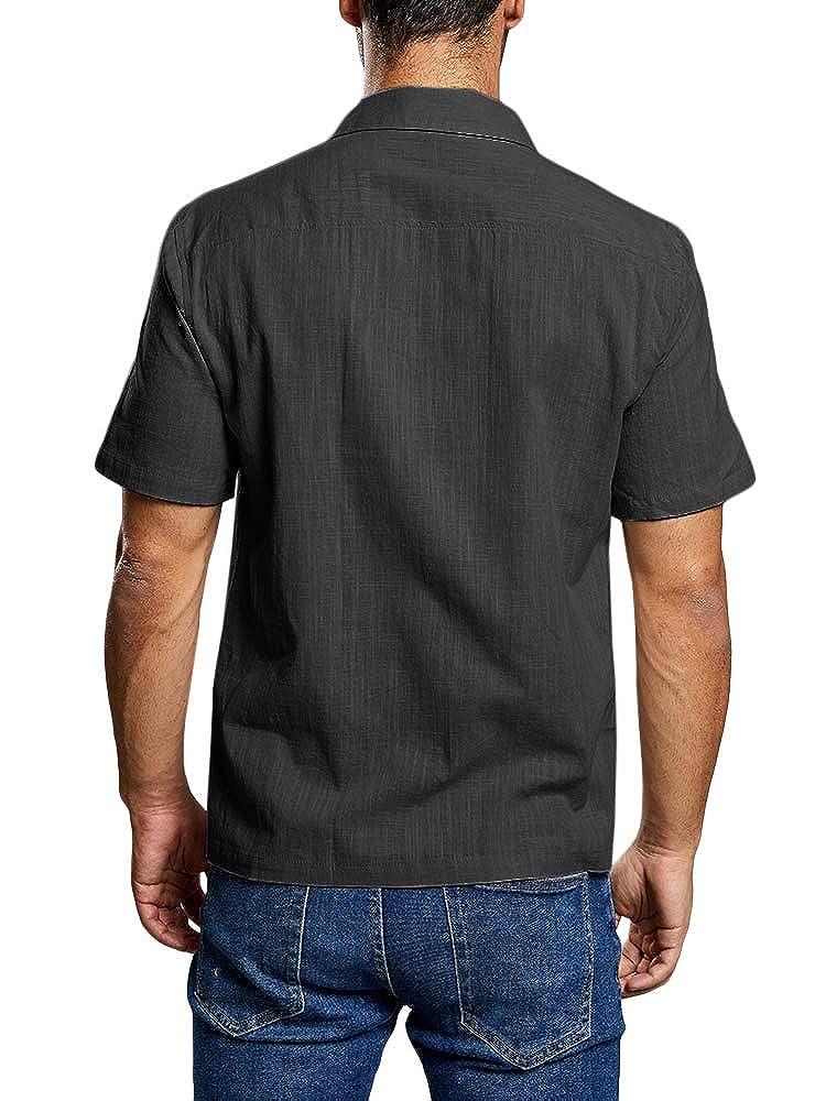 Enjoybuy Mens Short Sleeve Linen Cotton Casual Button Down Shirts Summer Loose Fit Beach Shirts