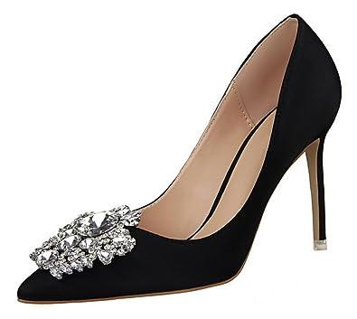e55aa5b4bc837 Passionow Women s Elegant Pointed Toe Buckle Rhinestones Stiletto High Heel  Satin Dressy Dress Pumps (5