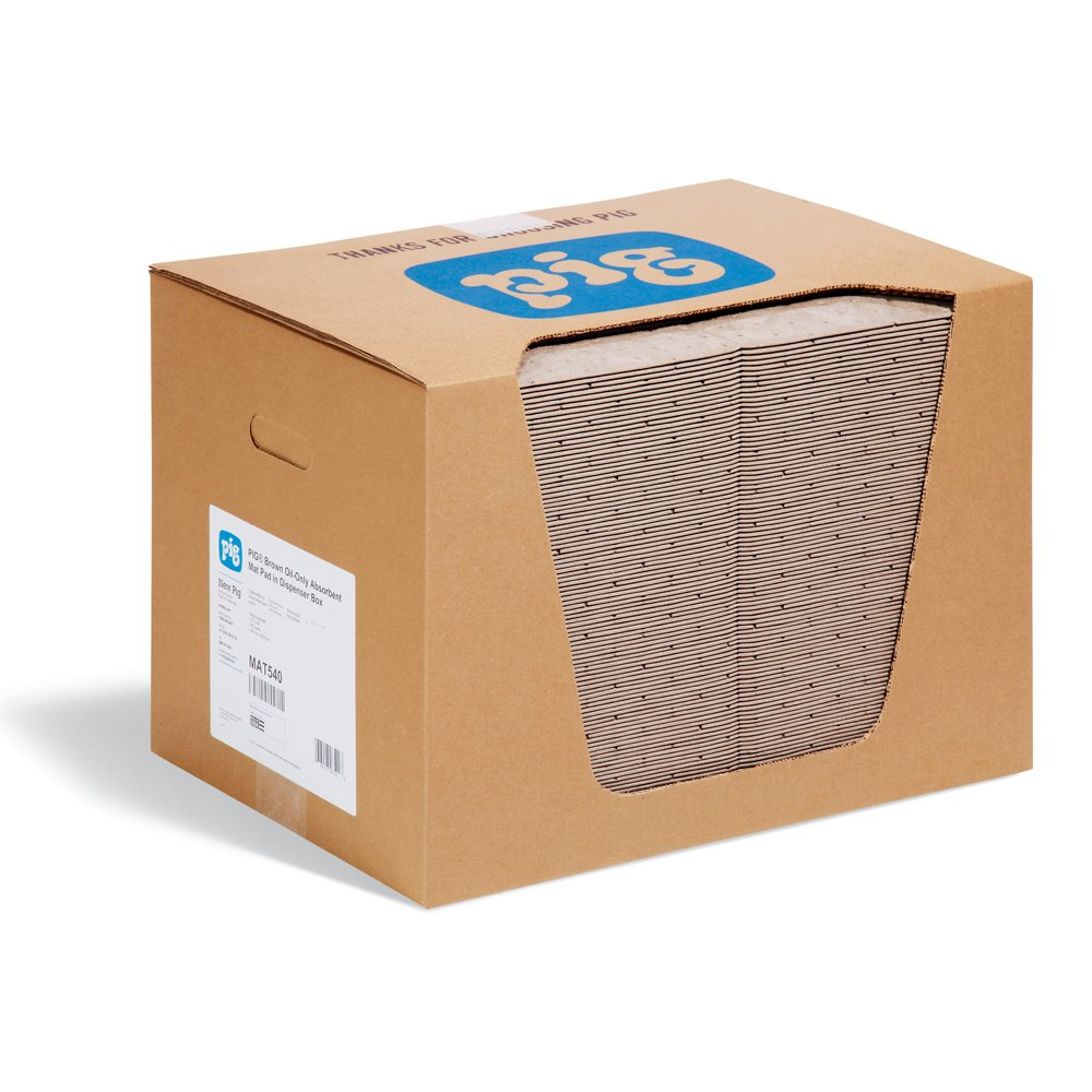 New Pig MAT540 Polypropylene Oil-Only Absorbent Mat Pad in Dispenser Box, 22 Gallon Absorbency, 20'' Length x 15'' Width, Brown (Box of 100)
