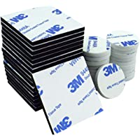 Double Sided Foam Pads, 50 Pcs Double Adhesive Foam Pads Strong Mounting Tape, Square and Round, White & Black