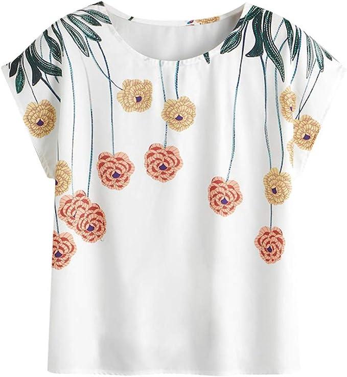 MOTOCO Camiseta de Mujer Camisa de Manga Corta TamañO del Pliegue O Sleaves Estampado de Flores Curling Cuff Shirt Camisetas Top(M, Blanco): Amazon.es: Ropa y accesorios