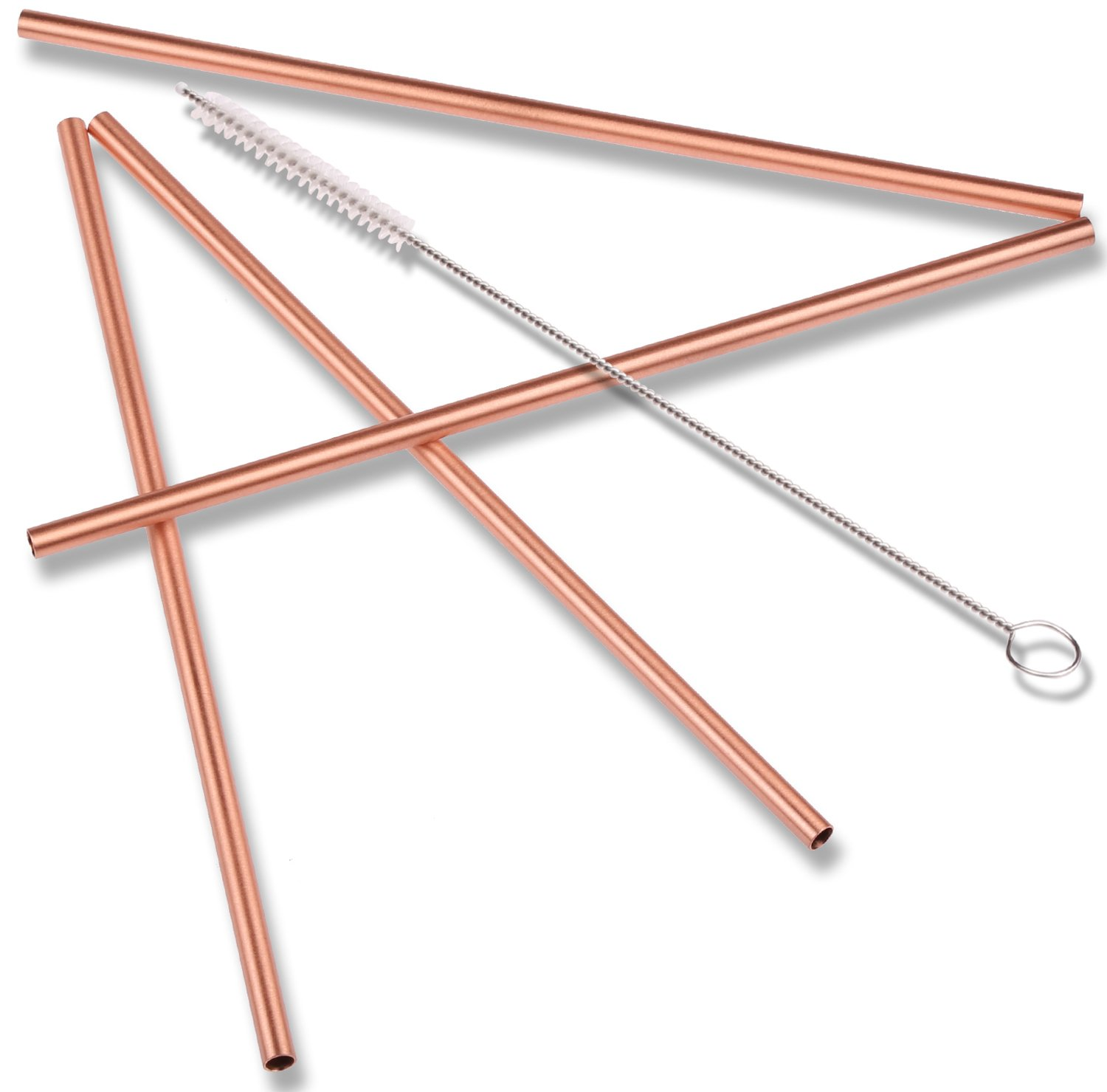 ZERRO Copper Straws Food Safe Solid Copper Mule Drinking Straws Set of 4 Straight 8.5inch Cleaning Brush Included