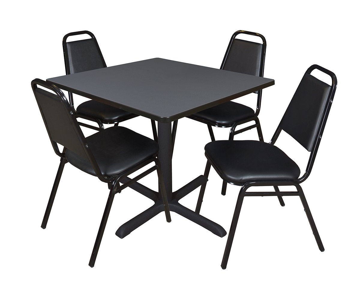 Cain 36'' Square Breakroom Table- Grey & 4 Restaurant Stack Chairs- Black