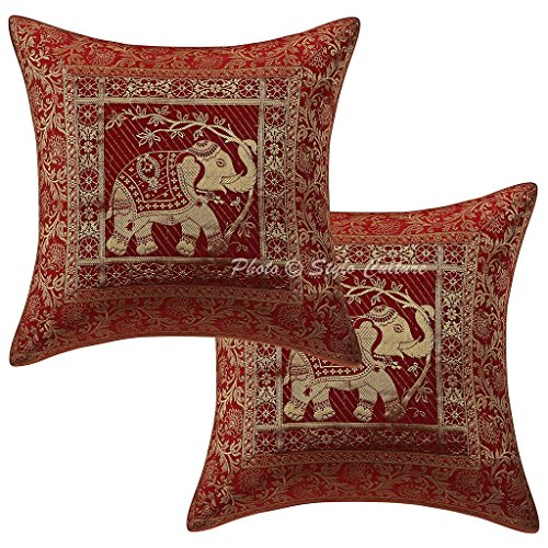 Stylo Culture Indian Decorative Throw Pillow Covers Brocade Jacquard Elephant Maroon Floral Square 16 by 16 Pillow Covers 40x40 cm | Set of 2 ()