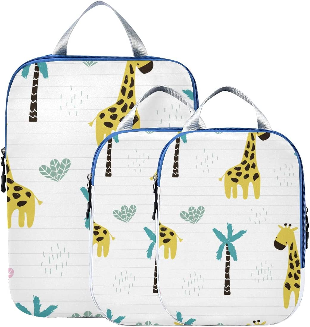 Cute Giraffe 3 Set Packing Cubes,2 Various Sizes Travel Luggage Packing Organizers i