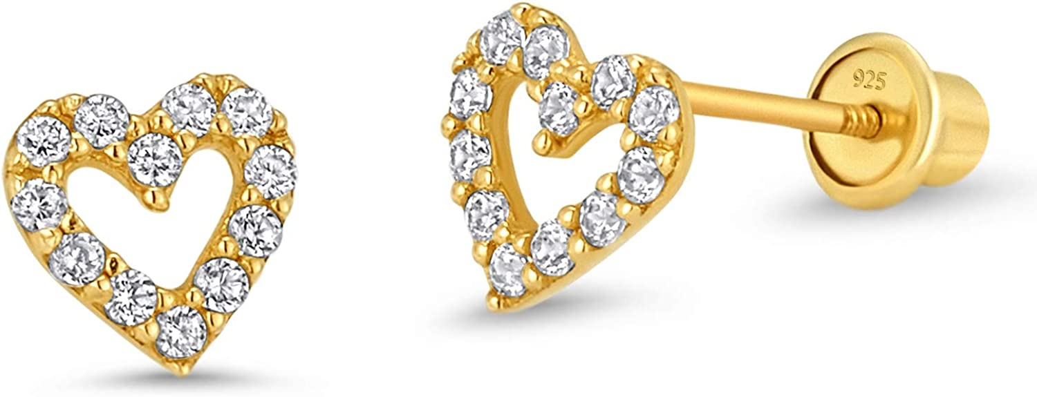 14k Gold Plated Brass Open Heart Cubic Zirconia Screwback Girls Earrings with Sterling Silver Post 61dRx0JBeCL