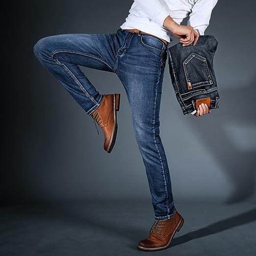 LIEBE721 Hombres Pantalones Pantalones largos Mezclilla Derecho Ajuste regular Algodón Clásico Tramo Casual Ropa de… oj7oxx