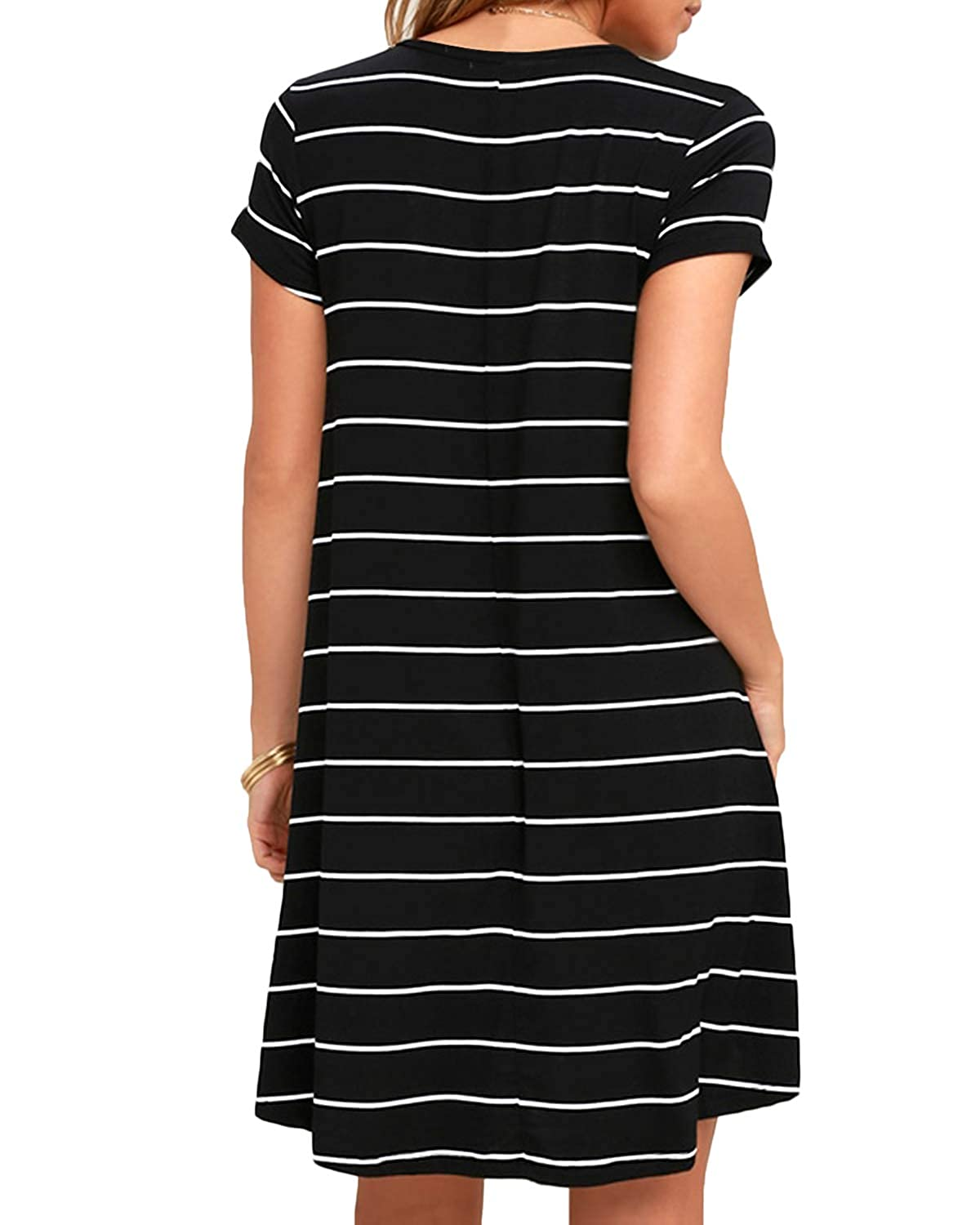 8b2eb302d7b SUNNYME Women Striped T Shirt Dress Short Sleeve Summer Loose Casual Mini  Midi Sundress at Amazon Women s Clothing store