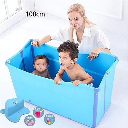 Baignoire Pliante Adulte Piscine Adulte Menage Enfants Pliant Portable 100cm Color Blue Size Without Cover Amazon Fr Cuisine Maison