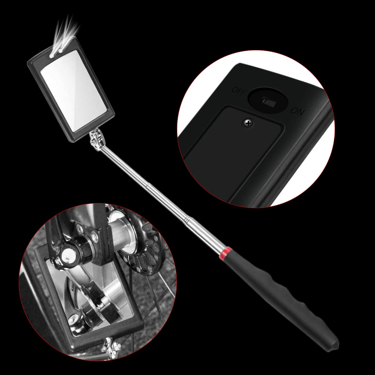 Preciva 5PCS Magnetic Telescoping Pick-up Tool Kit with 15lb//1lb Pick Up Rod Round//Square 360 Swivel Adjustable Inspection Mirror and Telescoping Flexible 3 LED Flashlight