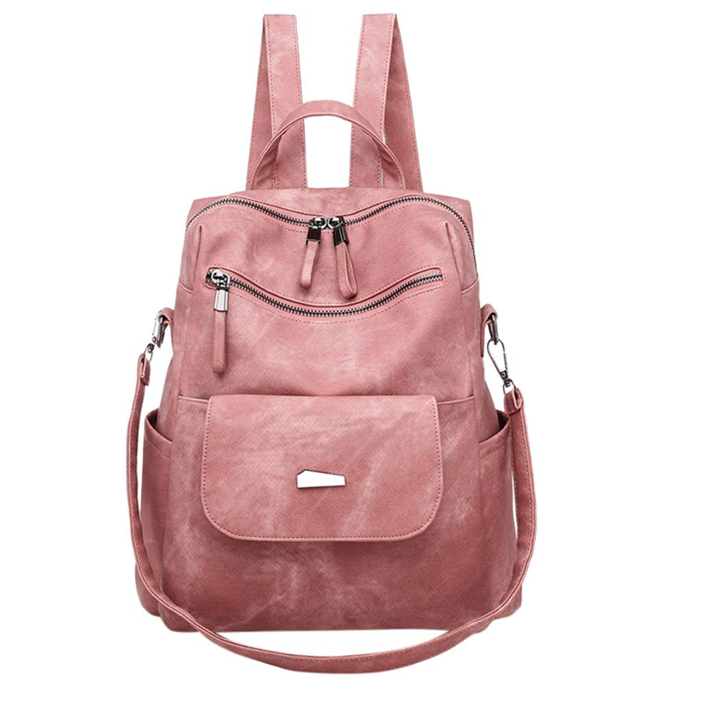 Seaintheson Women Backpack,Casual Leather Backpack Travel PU Leather Purse Waterproof Nylon Anti-theft Mini Multifunction Daypack by Seaintheson